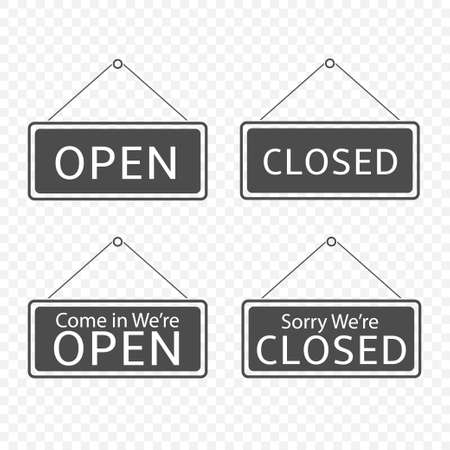 Open and Closed Hanging signs template isolated. Vector illustration
