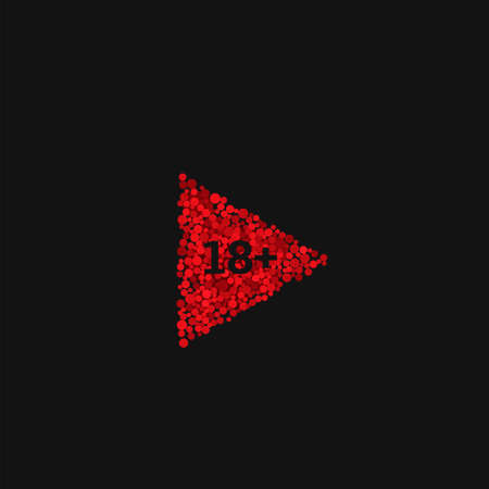 Red Play button. 18+ age icon symbol, Only adult person