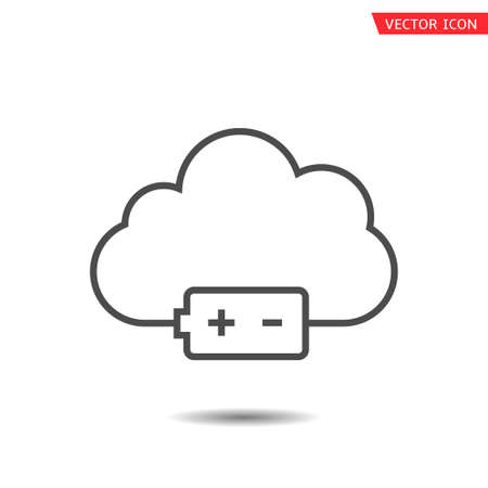 Cloud and battery icon isolated. Vector illustration