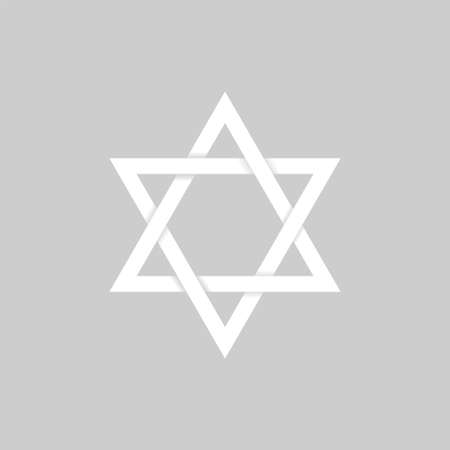 White paper Star of David icon. Six pointed geometric star figure, generally recognized symbol of modern Jewish identity and Judaism Israel symbol