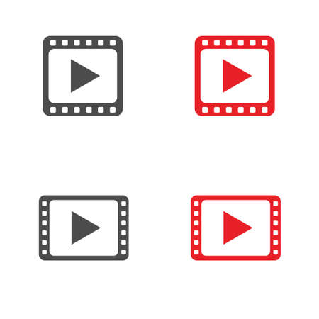 Red Play icon set. Multimedia buttons, Vector