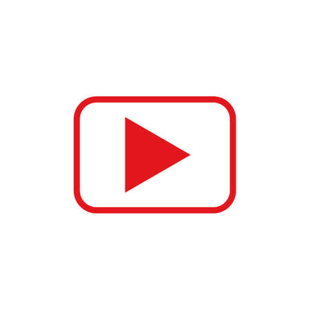 Play button. Red Multimedia button template Vector illustration Çizim