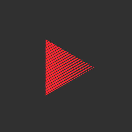 Play button. Red Triangle icon, multimedia button template Vector illustration