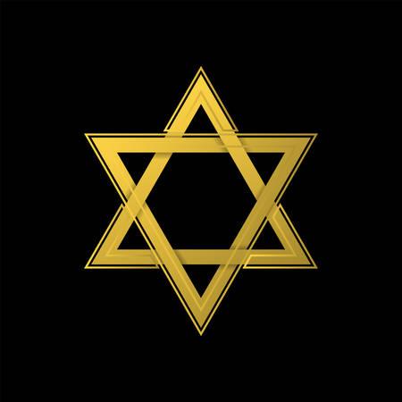 Golden Star of David icon. Generally recognized symbol of modern Jewish identity and Judaism, Israel symbol