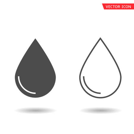 Black drop icons. Water or oil drops, Vector