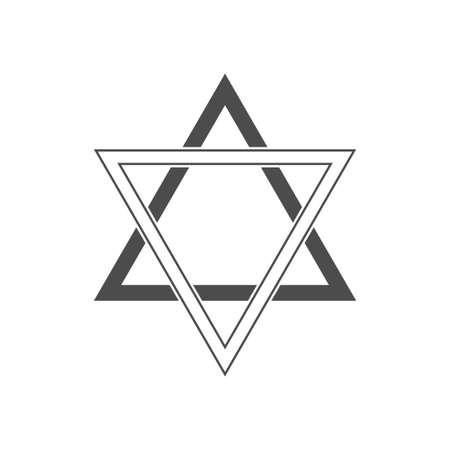 Six pointed geometric star figure, generally recognized symbol of modern Jewish identity and Judaism Israel symbol Illustration