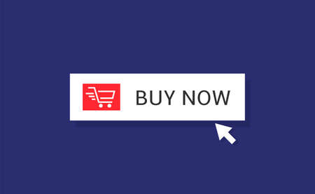 Buy now. Buy it now banner template with arrow, basket icon Illustration