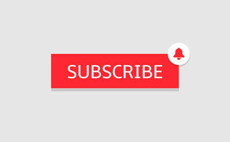 Subscribe banner template. Red Subscribe button with bell icon