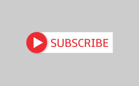 Subscribe banner template. Red Subscribe button with white arrow