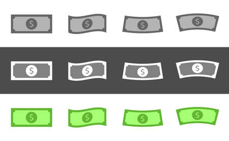 Dollar banknote set. American money banknotes, Vector illustration