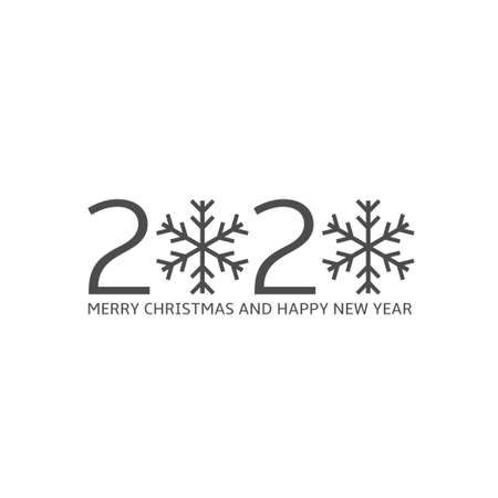 2020 Merry Christmas and Happy New Year. 2020 snowflakes symbol Иллюстрация