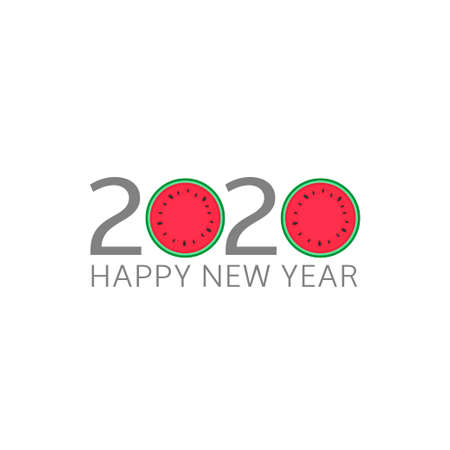 2020 Happy New Year. Watermelon icon, Vector illustration