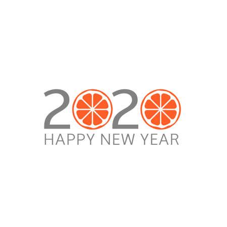 2020 Happy New Year. Grapefruit icon, Vector illustration