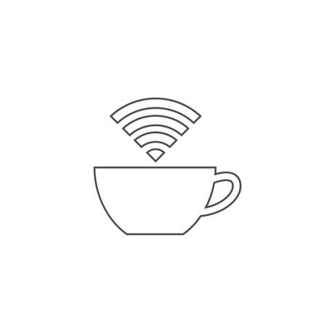 Internet cafe icon. Outline cup of coffee or tea with Wi-Fi icon, Vector