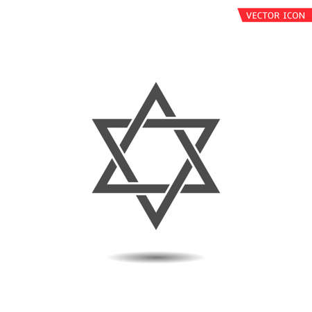 Six pointed geometric star figure, generally recognized symbol of modern Jewish identity and Judaism Israel symbol Çizim