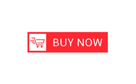 Buy now button. Red Buy now button with shopping cart icon template, Web design elements Illustration