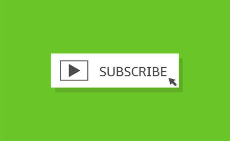 Subscribe banner template. White Subscribe button with play buttonand arrow icon over green background Stock Illustratie