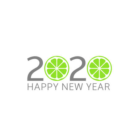 2020 Happy New Year. Lime icon, Vector illustration