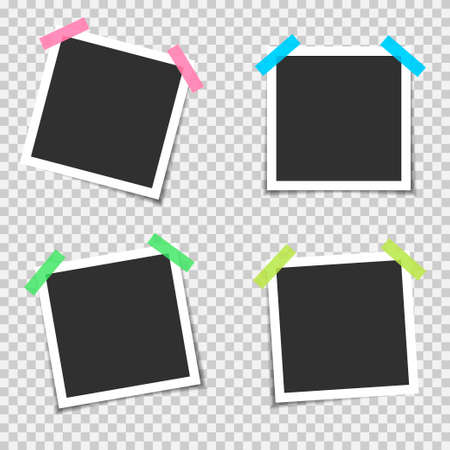 Blank photo frames. Empty blank photo frame set with colored scotch tapes Ilustrace