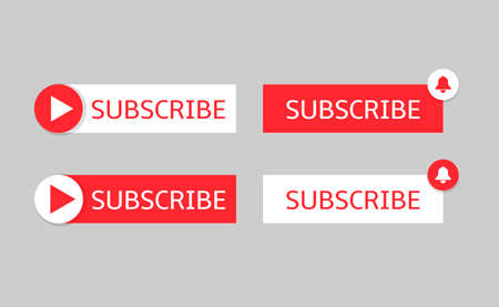 Subscribe banner templates. Red and white Subscribe buttons with bell and play icons