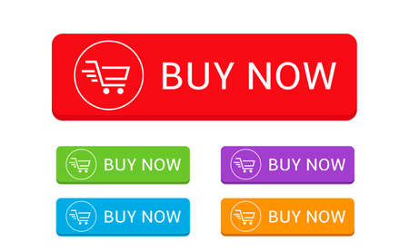 Buy now. Colored Buy it now banner template set, basket icon