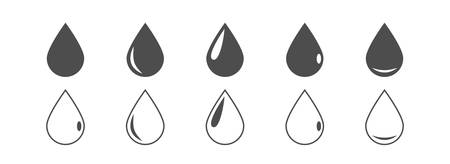 Black drop icons. Water or oil drops, black and outline icons Vector