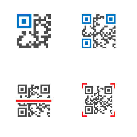QR code icon set. Trademark for a type of matrix barcode, machine-readable optical label that contains information about the item to which it is attached Çizim