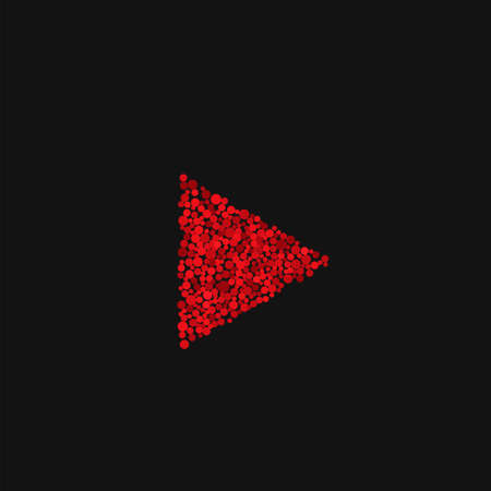 Red Play button. Abstract dots triangle, Adult video content symbol Vector illustration
