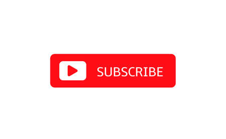 Subscribe banner template. Red Subscribe button with white play arrow sign Stock Illustratie