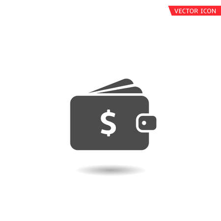 Wallet with dollar sign icon. Purse icon isolated, Vector illustration
