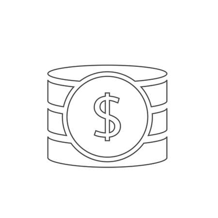 Outline Dollar coins icon. Money icon isolated, Payment income salary bonus symbol Vector illustration Stok Fotoğraf - 131689250