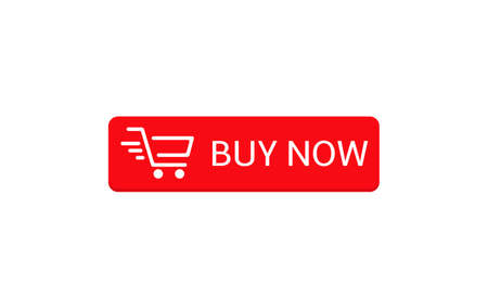 Buy now button. Red Buy now button with shopping cart icon template, Web design elements Ilustração