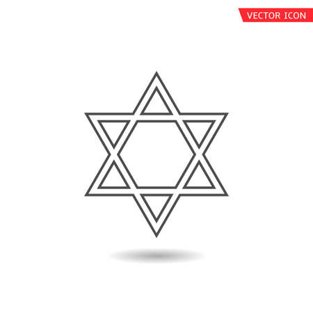 Star of David icon. Six pointed geometric star figure, generally recognized symbol of modern Jewish identity and Judaism Israel symbol Vektorové ilustrace