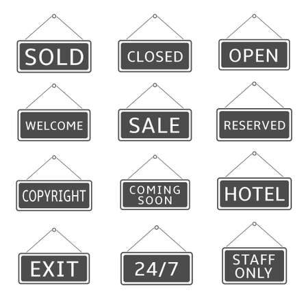 Hanging signs. Sold, Closed, Open, Welcome, Sale, Exit Coming soon Staff only Copyright Reserved Vector illustration Imagens - 132223845