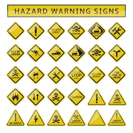 Znaki ostrzegawcze zagrożenia. Zestaw żółtych symboli ostrzegawczych, znaki ostrzegawcze ostrzegawcze