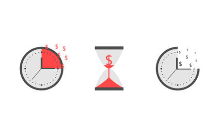 Time is money. Clock with red dollar signs Vector illustration