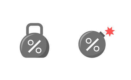 Debt. Weight icon with percent sign and bomb with percent sign, financial problem concept Vector illustration Ilustrace
