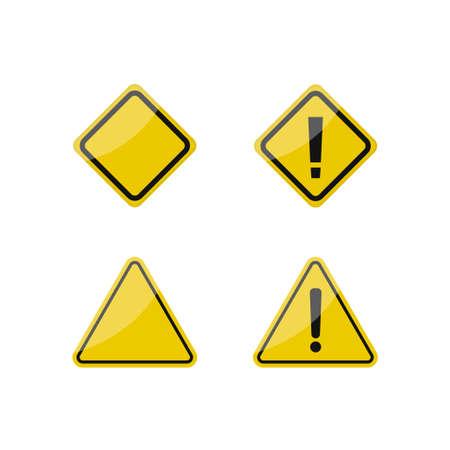 Hazard warning signs. Yellow warning symbol set, caution danger signs