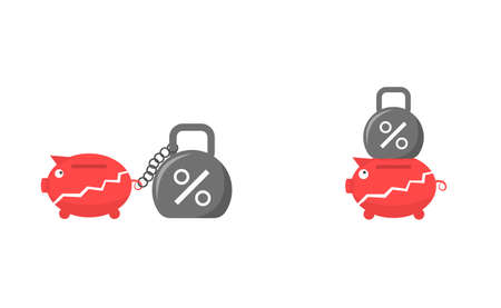 Pig with weight. Debt concept, Vector icons Ilustrace
