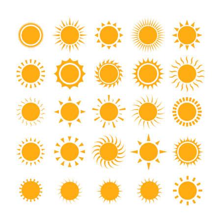 Sun icon set. Orange Summer symbols for graphic and web design