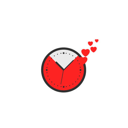 Clock with red hearts sign. Time is love, Happy Valentine's day symbol