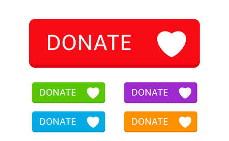 Donate buttons. Colored buttons with heart symbol for your website, Philanthropy, charity and volunteering symbol Web design element