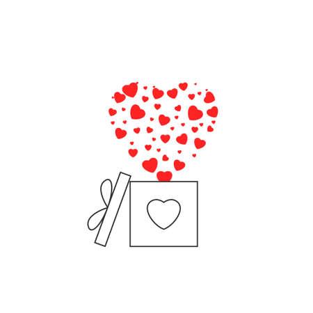 Gift box red hearts icon. Happy Valentine's day symbol