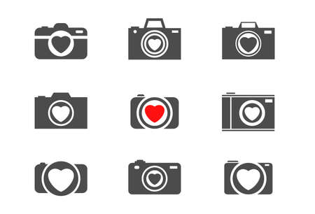 Camera with heart symbol. Love story and wedding concept
