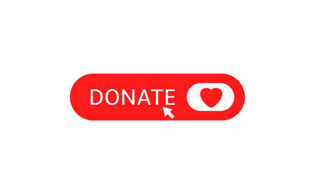 Donate button icon. Red button with red heart symbol Illustration