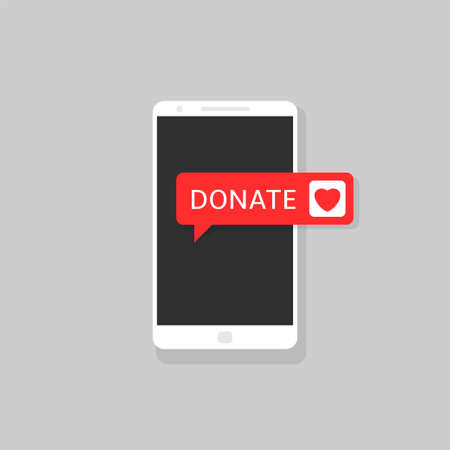 Donate button icon. Smartphone with red heart symbol on the screen Illustration