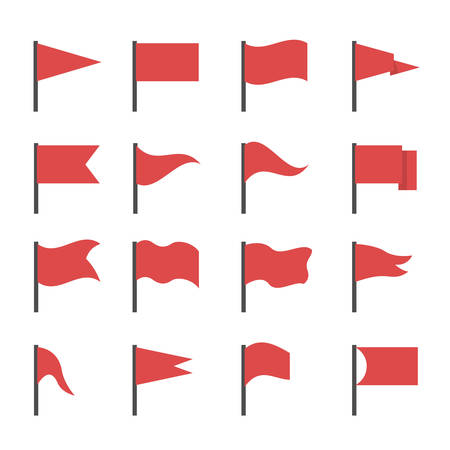 Red flags. Red flag icon set, start and finish symbols Çizim