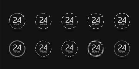 24 Hours clock arrow icons. 24 hours service daily, fast time signs, working hours, quick timely delivery