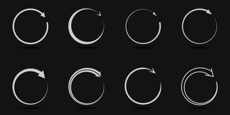 Round arrow signs. Circle with arrow icon set, progress symbols  イラスト・ベクター素材