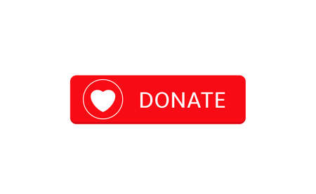 Voluntary and donation concept. Donate button icon. Red button with white heart symbol 向量圖像